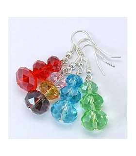 PENDIENTES CRISTAL FACETADO MIX COLOR 1 PAR