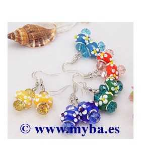 PENDIENTES CRISTAL LAMPWORK 40 MM COLOR SORPRESA