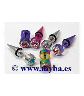 PENDIENTES ACERO CRISTAL CHECO MIX 14/25x7 MM 1 UD