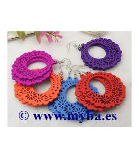 PENDIENTES MADERA CRIOLLAS MIX COLOR 76 MM 1 PAR