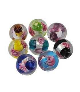 BOLAS SILVER FOILED FLORES 12 MM MIX 5 UD