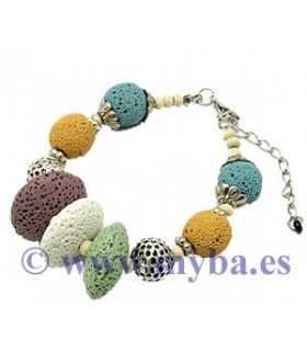 PULSERA LAVA NATURAL MULTICOLOR 17,5 CM