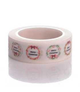 WASHI TAPE MERRY CHRISTMAS 15  MM x 10 METROS
