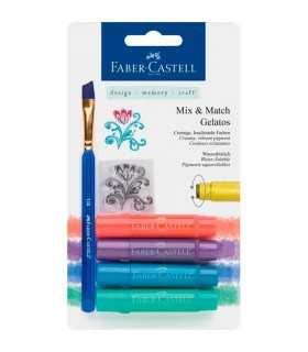 GELATOS FABER-CASTELL SET 4 COLORES METAL + PINCEL