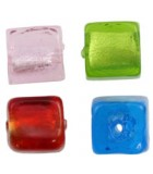 CUBOS 10 MM CRISTAL FOILED AGUJERO 1,5 MM 5 UD : color:Mix