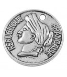 MONEDA REPUBLIQUE FRANCAISE 26x3 MM 2 UNIDADES : Acabado:Baño Plata Antigua