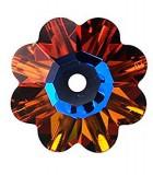 FLOR DE CRISTAL SWAROVSKI DE 10 MM : Unidades:Envase 5 Unidades, color:Volcano