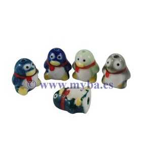 PINGÜINOS PORCELANA 16x11 MM MIX COLORES 3 UD