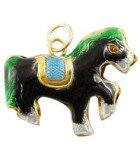 CABALLO CLOISONNE 27x31x6 MM ANILLA 4 MM 1 UD : color:Negro
