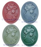 CAMAFEO DE RESINA LADY OVAL 27x21x7 MM 3 UD : color:Mix