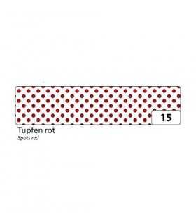 WASHI TAPE FOLIA PUNTOS ROJOS 15 MM x 10 METROS