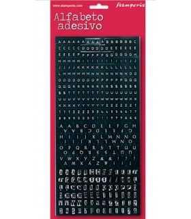 ALFABETO ADHESIVO STAMPERIA 25x12 CM 375 ud NEGRO