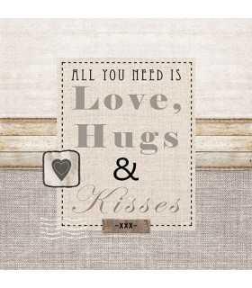 SERVILLETAS 20 UD 33x33 CM LOVE, HUGE, KISSES
