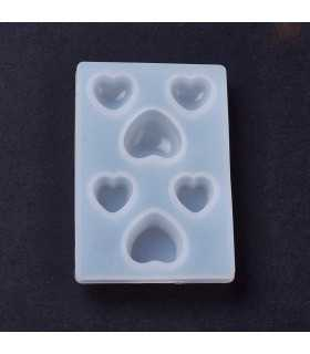 MOLDE FLEXIBLE SILICONA CORAZONES MIX 6x4 CM