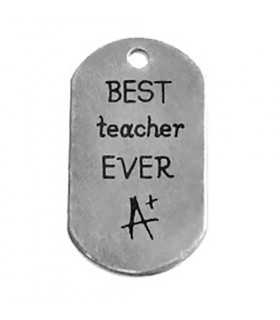 PLACA COLGANTE LATÓN BEST TEACHER EVER 20x37 MM