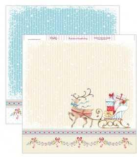 PAPEL SCRAP 2 CARAS 30,5x30,5 CM TRINEO REGALOS