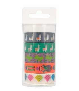 SET 5 WASHI TAPES ALPACA ARTEMIO 15mmx 5 METRO