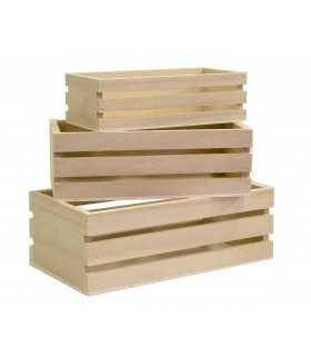 Set 3 estantes cajitas de madera 16,5-21,5 CM