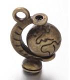 COLGANTE 3D GLOBO TERRÁQUEO 18x12x9 MM 2 UD : Acabado:Baño Latón antiguo