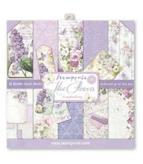 PAPELES SCRAP STAMPERIA 10 UD 12x12 LILAC FLOWERS