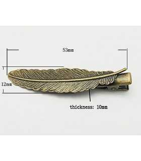 CLIP PLUMA BRONCE ANTIGUO 53x12x10 MM 2 UD