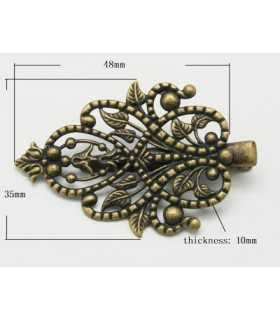 CLIP FILIGRANA BRONCE ANTIGUO 48x35x10 MM 2 UD