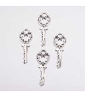 LLAVES CHARMS 38x13 MM PLATA ANT 4 UNIDADES