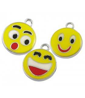 COLGANTE SMILEY ESMALTE 21x18x2 MM MIX 3 UD