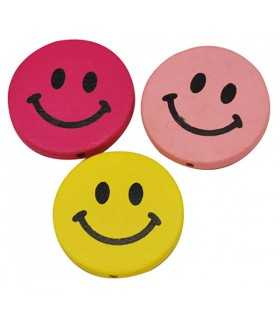 SMILEY MADERA PINTADO 30x5 MM MIX 5 UNIDADES