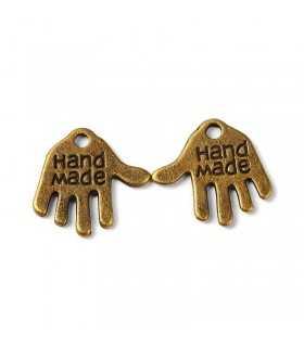 MANO METAL HAND MADE 12x13x1 MM 50 UNIDADES