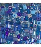 CUBOS MIYUKI 4 MM MIX-1 BOLSA 10 GR APROX : MIYUKI CUBOS:MIX02 MIX BLUE
