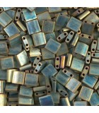TILA BEADS 5x5x2 MM 2 AGUJEROS 5 GRAMOS METAL FROS : MIYUKI ROCALLA:2008 MM PATINA IRIS
