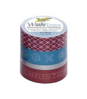 WASHI TAPE FOLIA SET NAVIDAD 3x15 MM Y 1x5 MM