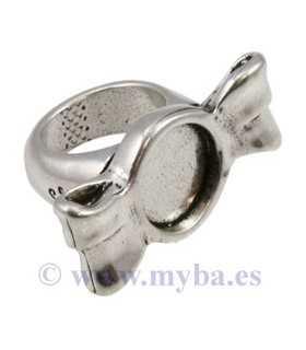 ANILLO CARAMELO 37x19 MM METAL BAÑO PLATA 1 UD