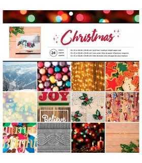 PAPEL SCRAP 1 CARA 24 HOJAS 12x12 CHRISTMAS