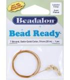 BEAD READY BEADALON 7 HEBRAS 0,38 MM 51 CM 1 UD : WIRE ACERO:Dorado Satin