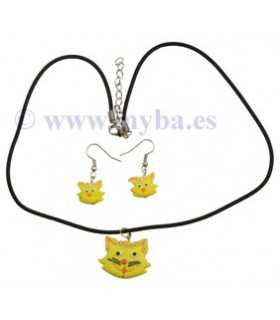 SET COLLAR Y PENDIENTES GATO FIMO AMARILLO