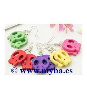 PENDIENTES CALAVERAS HOWLITA 21x20 MM MIX COLOR