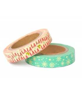 WASHI TAPE FA LA LA LA LA 10 MM SET 2 x 10 METROS