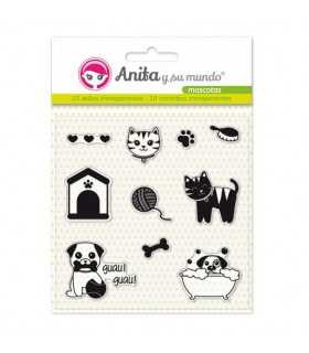 Sellos transparentes Mascotas Anita 10 unidades