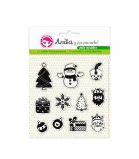 Sellos transparentes Feliz Navidad Anita 11 ud