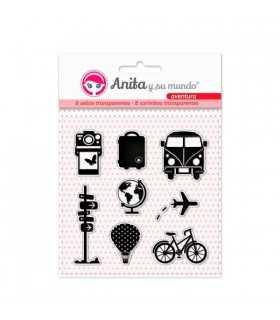 Sellos transparentes Aventura Anita 8 unidades