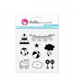 Sellos transparentes Azul bebé Anita 9 unidades