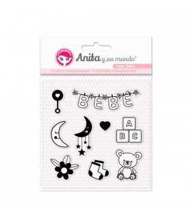 Sellos transparentes Rosa bebé Anita 9 unidades