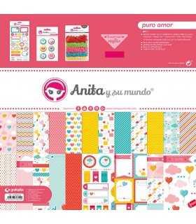 Kit papeles y accesorios scrap Puro Amor Anita