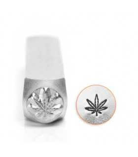 SELLO DE GRABADO METAL IMPRESS ART HOJA HEMP 6 MM