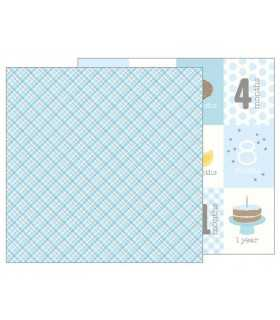 """PAPEL LULLABY BABY BOY PLAID 12""""x12"""" 1 UD"""