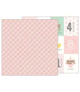 """PAPEL LULLABY BABY GIRL PLAID 12""""x12"""" 1 UD"""