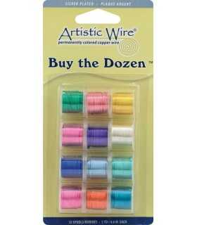 ARTISTIC WIRE 24 GAUGE 12 BOBINAS COLORES PLAT.