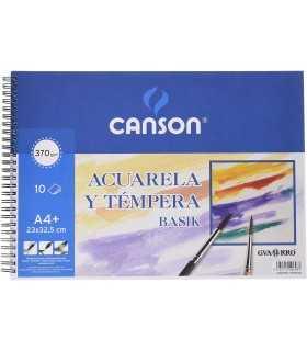 BLOC BASIK CANSON ACUARELA A4 10 HOJAS 370 GR
